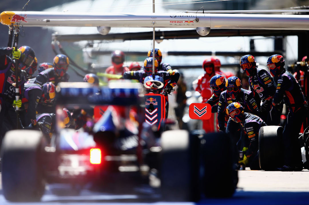 NUERBURG, GERMANY - JULY 07: Sebastian Vettel of Germany and Infiniti Red Bull Racing drives in for a pitstop during the German Grand Prix at the Nuerburgring on July 7, 2013 in Nuerburg, Germany. (Photo by Paul Gilham/Getty Images) *** Local Caption *** Sebastian Vettel